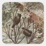 Circa 1871: Una escena hivernal del navidad Calcomanía Cuadrada Personalizada