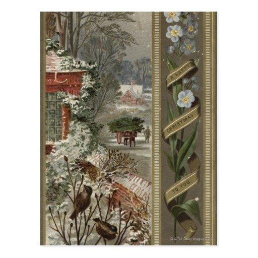 Circa 1871: Una escena hivernal del navidad Postales