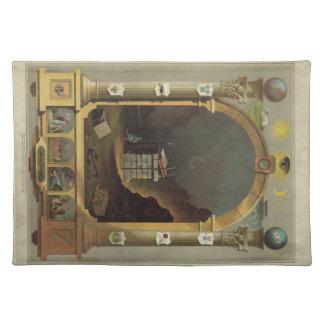 Circa 1872 Masonic Chart Lithography Print Image. Place Mat