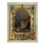 Circa 1872 Masonic Chart Lithography Print Image Postcard