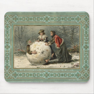 Circa 1879: Two women roll man in snow Mouse Pad