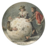Circa 1879: Two women roll man in snow Dinner Plates