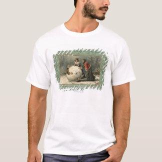 Circa 1879: Two women roll man in snow T-Shirt