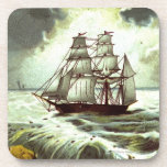 Circa 1880: Una tarjeta de felicitaciones del navi Posavasos De Bebida