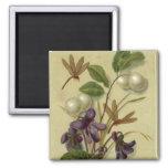 Circa 1881: Snowberries y violetas Imán Cuadrado