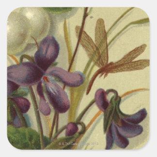 Circa 1881: Snowberries y violetas Pegatina Cuadrada
