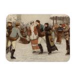 Circa 1899: Hielo-patinadores que disfrutan de nav Imán De Vinilo