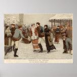 Circa 1899: Hielo-patinadores que disfrutan de nav Poster