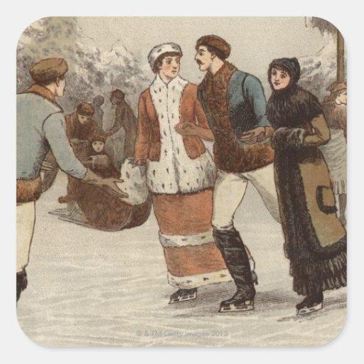 Circa 1899: Hielo-patinadores que disfrutan de nav Pegatinas Cuadradases