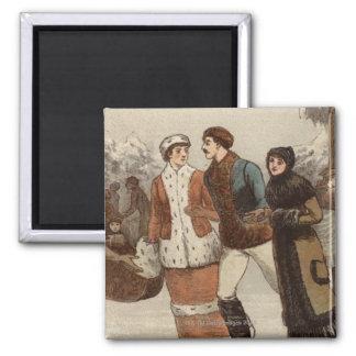 Circa 1899: Ice-skaters enjoying Christmas Refrigerator Magnet