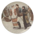 Circa 1899: Ice-skaters enjoying Christmas Party Plate