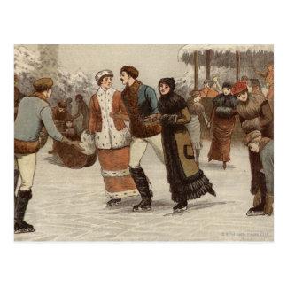 Circa 1899: Ice-skaters enjoying Christmas Postcard