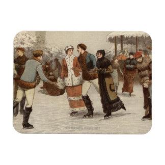 Circa 1899: Ice-skaters enjoying Christmas Magnets