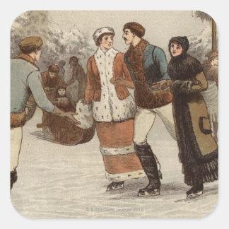 Circa 1899: Ice-skaters enjoying Christmas Stickers