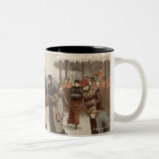 Circa 1899: Ice-skaters enjoying Christmas Two-Tone Coffee Mug