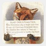 Circa 1900: A fox holds a Christmas verse Square Sticker