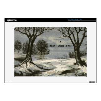 "Circa 1900: A lace edged Christmas card 15"" Laptop Skin"
