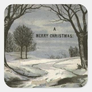 Circa 1900: A lace edged Christmas card Square Sticker