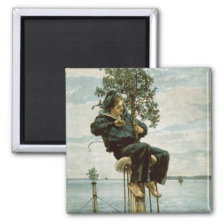 Circa 1900: A sailor ties holly to the masthead 2 Inch Square Magnet