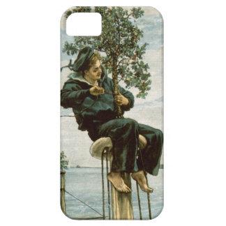 Circa 1900: A sailor ties holly to the masthead iPhone 5 Case
