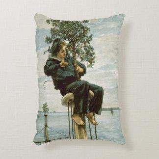 Circa 1900: A sailor ties holly to the masthead Decorative Pillow