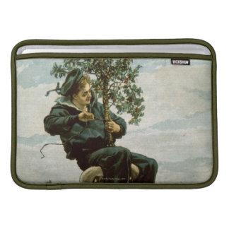 Circa 1900: A sailor ties holly to the masthead MacBook Sleeves