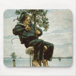 Circa 1900: A sailor ties holly to the masthead Mouse Pad