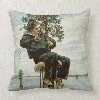 Circa 1900: A sailor ties holly to the masthead Throw Pillow