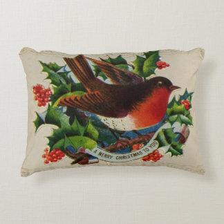 Circa 1900: A traditional Christmas robin Decorative Pillow