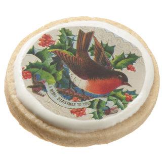 Circa 1900: A traditional Christmas robin Round Premium Shortbread Cookie