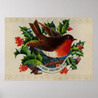 Circa 1900: A traditional Christmas robin Poster