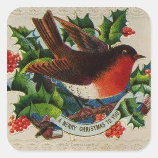 Circa 1900: A traditional Christmas robin Square Sticker