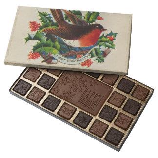 Circa 1900: A traditional Christmas robin 45 Piece Box Of Chocolates