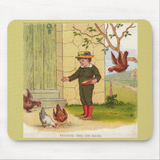 circa 1900 Feeding the Chickens Mouse Pad