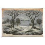 Circa 1900: Un cordón afiló la tarjeta de Navidad Mantel Individual