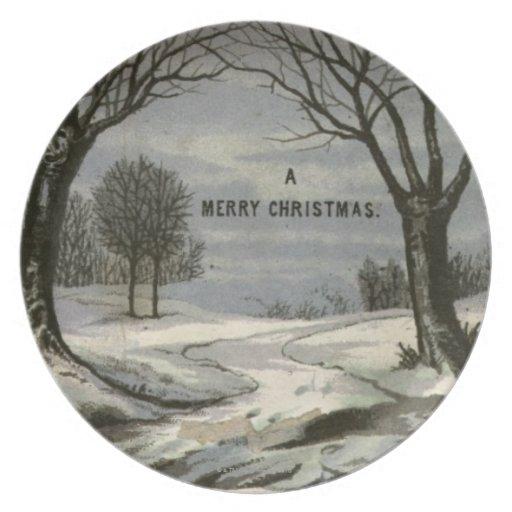 Circa 1900: Un cordón afiló la tarjeta de Navidad Plato De Comida