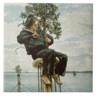 Circa 1900: Un marinero ata acebo al masthead Azulejos Cerámicos