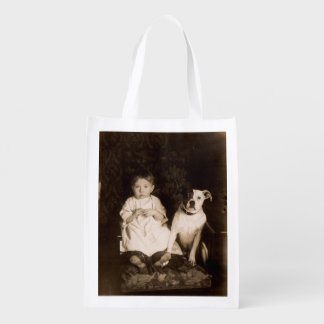 circa 1910 pitbull and baby RPPC Grocery Bags