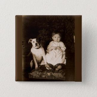 circa 1910 pitbull and baby RPPC Pinback Button