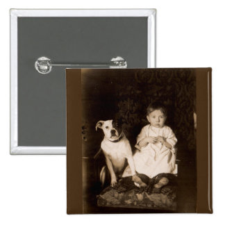 circa 1910 pitbull and baby RPPC Pinback Button