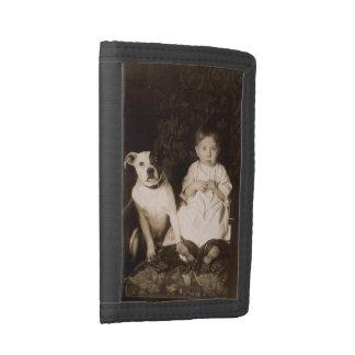 circa 1910 pitbull and baby RPPC Tri-fold Wallets