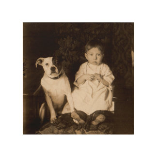 circa 1910 pitbull and baby RPPC Wood Wall Art