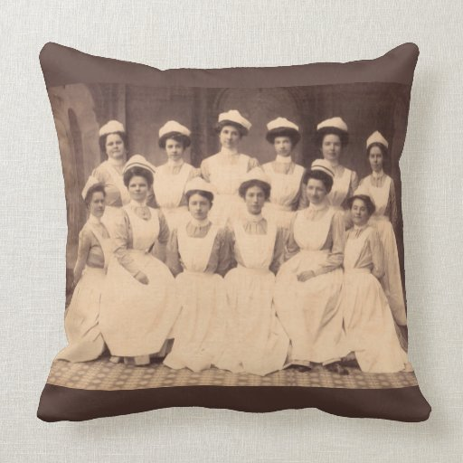 Decorative Pillows For College : circa 1914 nursing school graduates throw pillow Zazzle