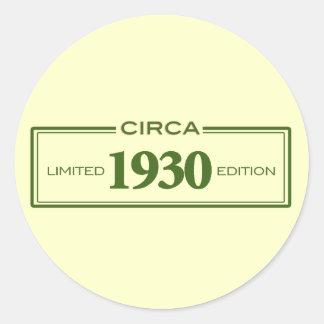 circa 1930 classic round sticker