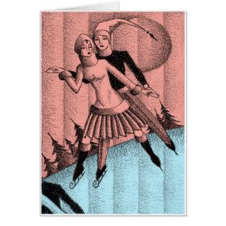 Circa 1930 dibujos de los patinadores de hielo del tarjeta
