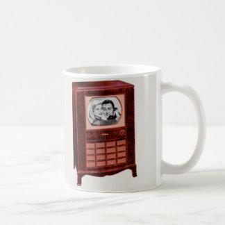 circa 1951 television set man and woman coffee mug