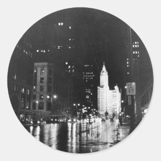 circa 1954:  A view down Michigan Avenue Classic Round Sticker