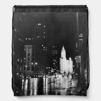 circa 1954:  A view down Michigan Avenue Drawstring Bag