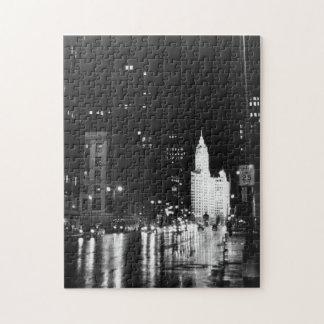 circa 1954:  A view down Michigan Avenue Puzzle