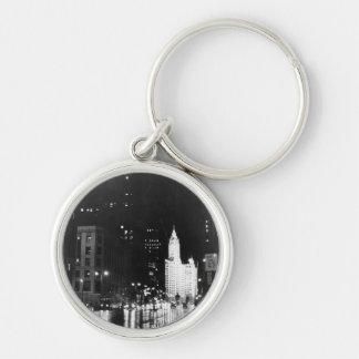 circa 1954:  A view down Michigan Avenue Silver-Colored Round Keychain